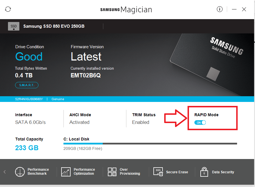 samsung how to manually set up windows for an ssd