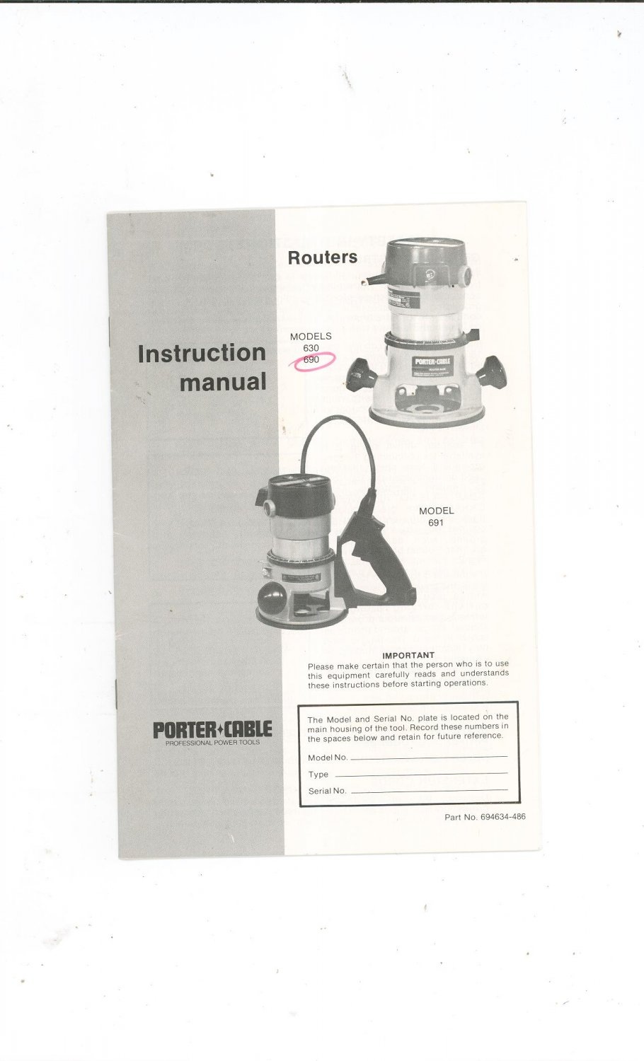 porter cable model 7336 manual