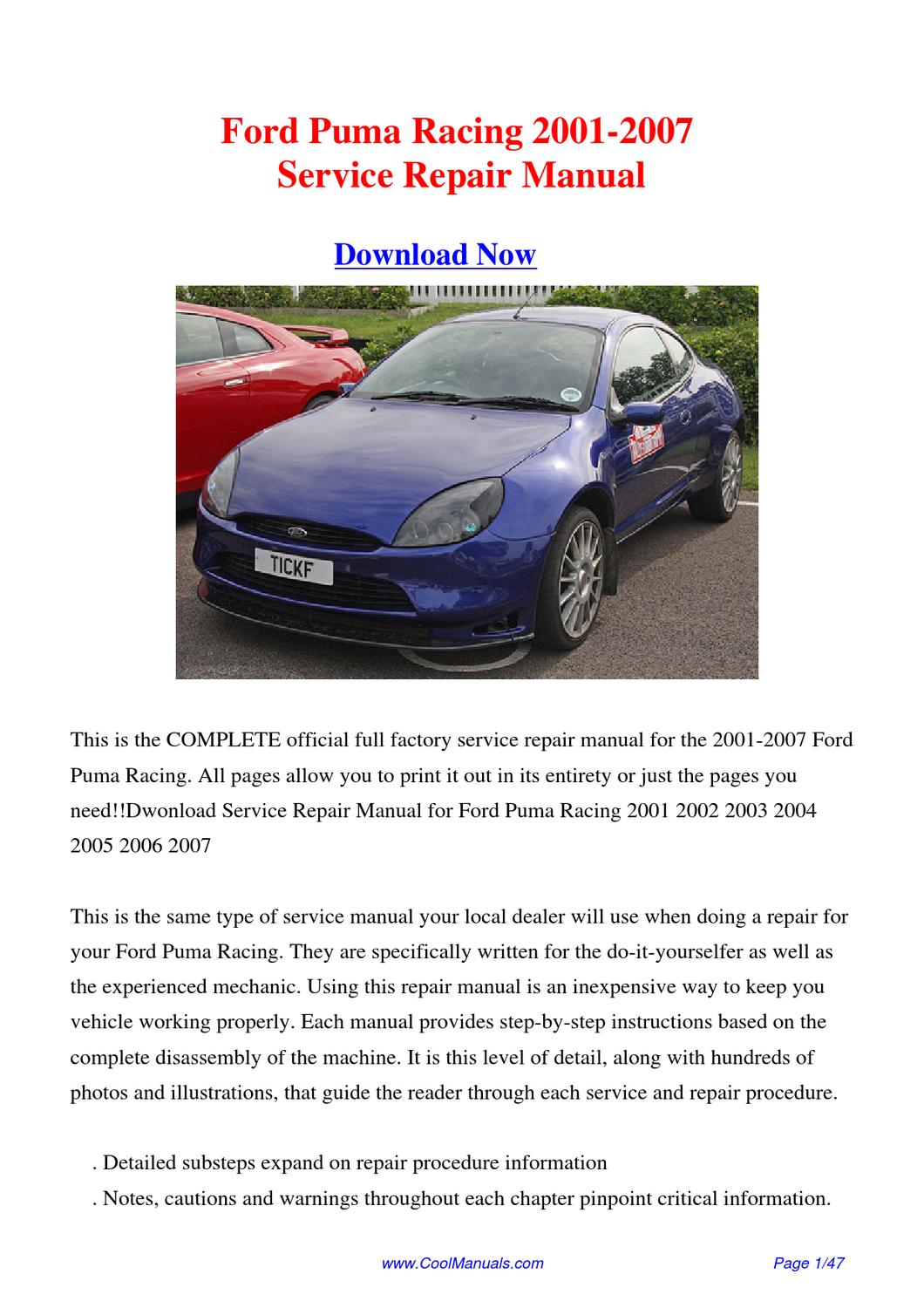 ford puma service manual free download